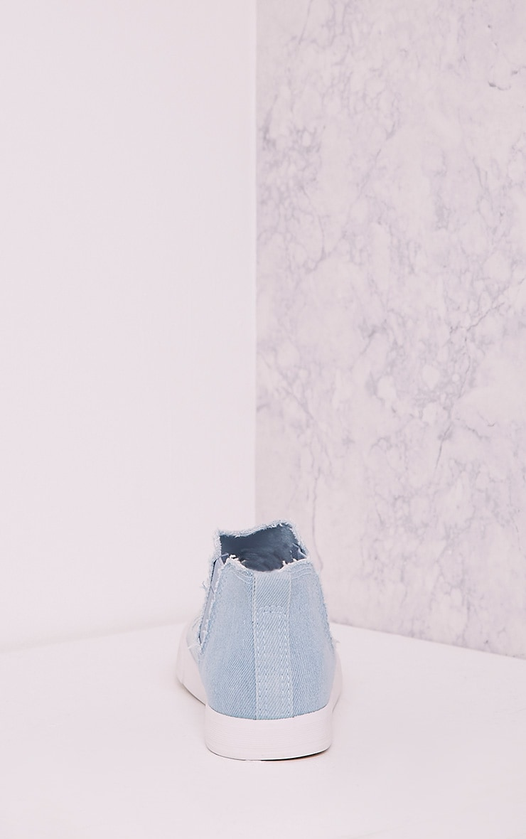 Gia Light Blue Wash Ripped Denim Slip on Trainers 4