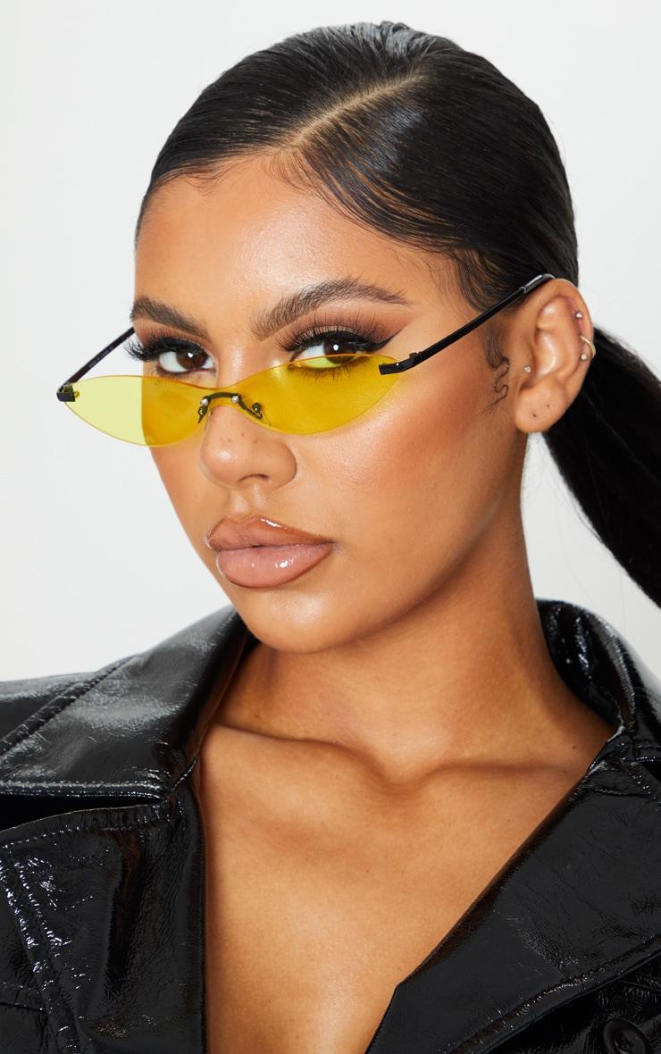 Neon Yellow Tinted Frameless Slim Cat Eye Sunglasses 1