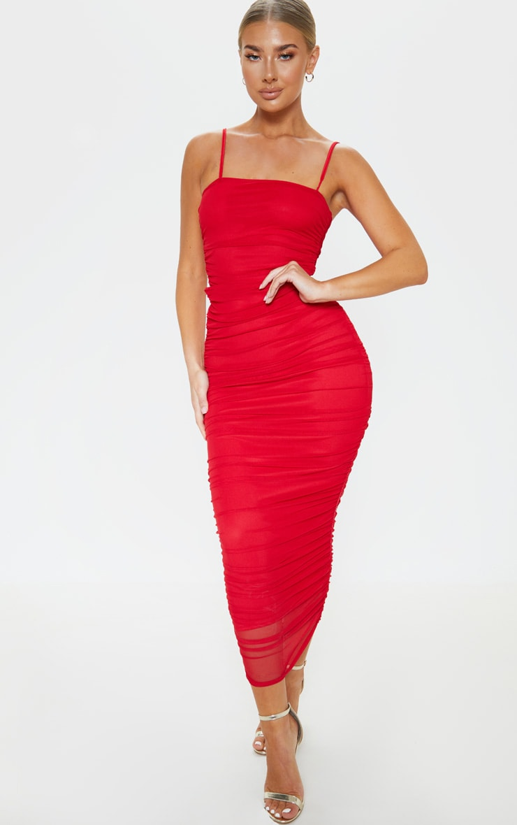 Red Strappy Mesh Ruched Midaxi Dress 1