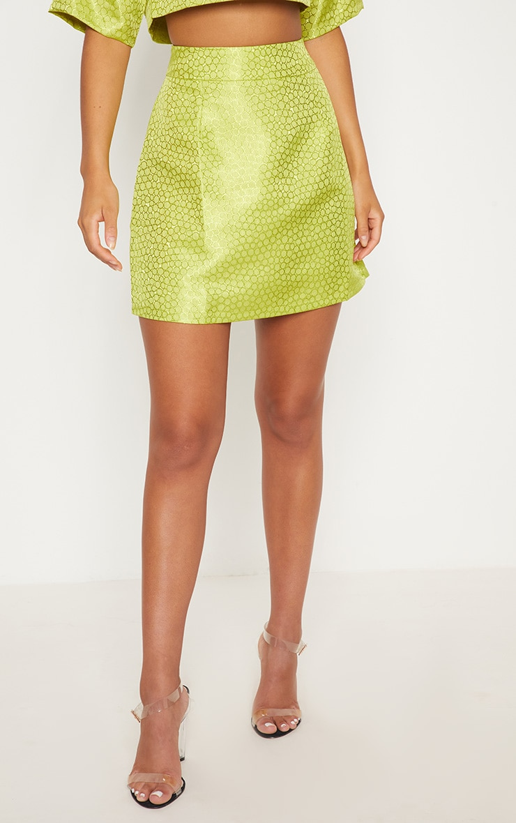 Lime Green Jacquard High Waisted Skirt 3