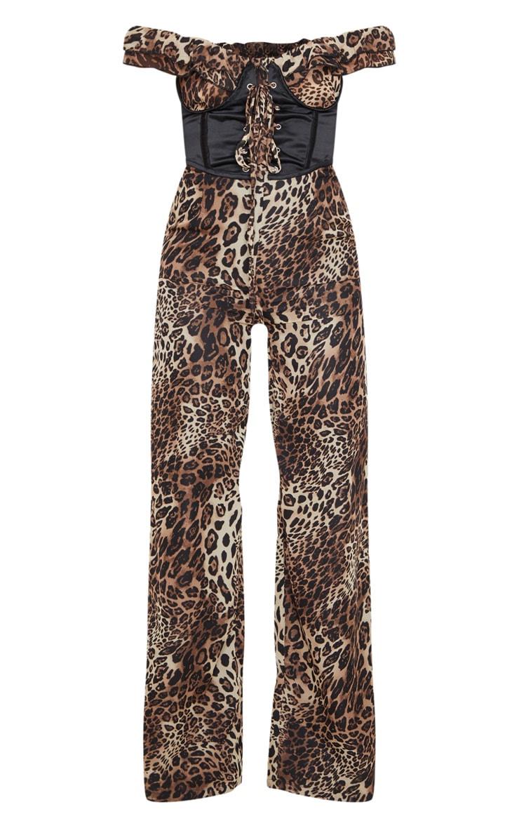 Tan Leopard Print Corset Frill Bardot Jumpsuit 6