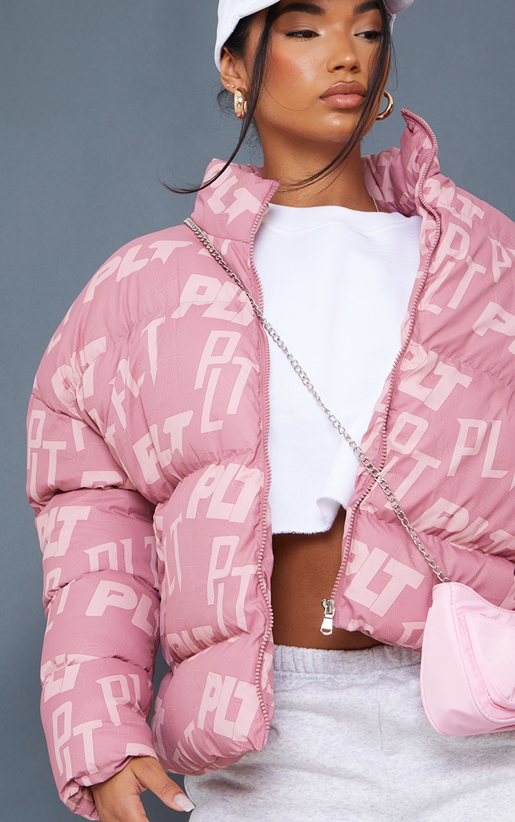 PRETTYLITTLETHING Pink Mix Print Puffer 4