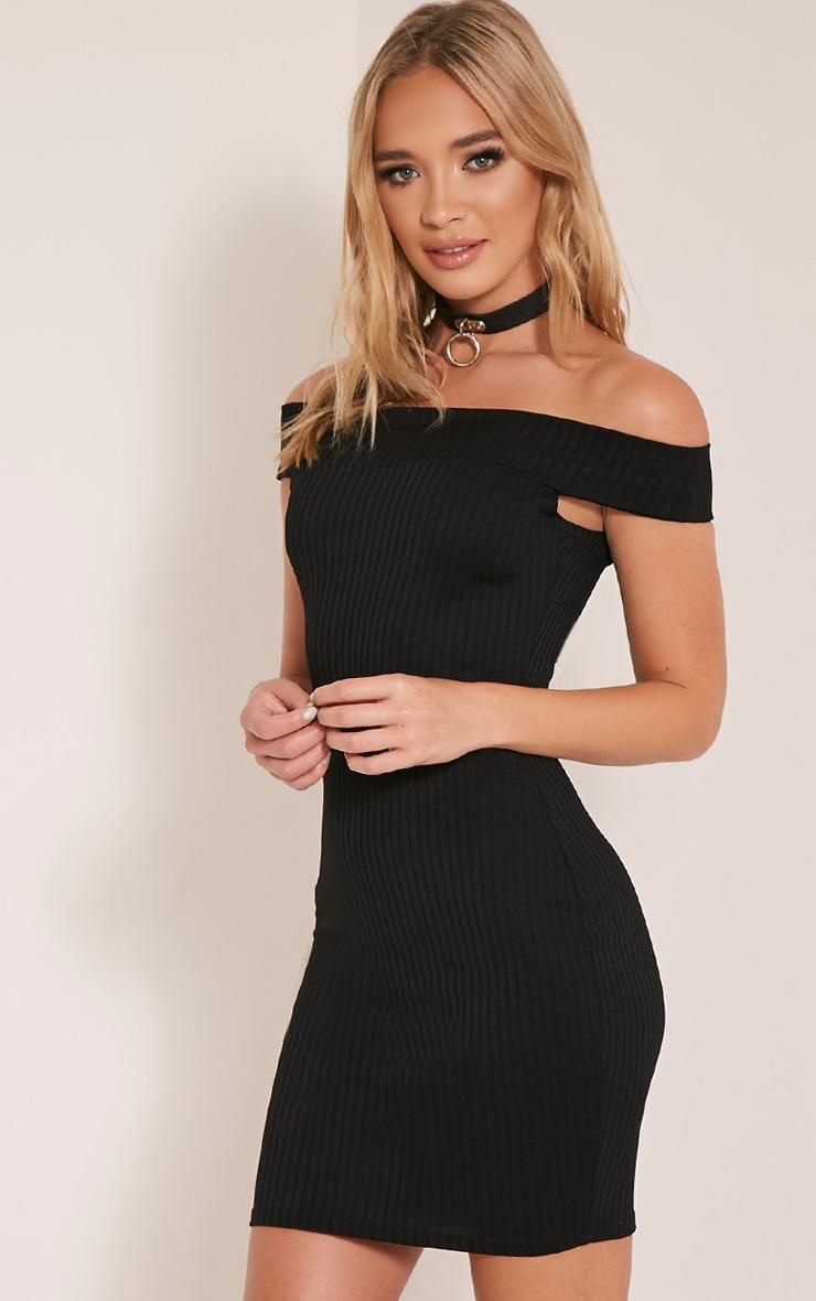 Rylah Black Bardot Ribbed Bodycon Dress 4