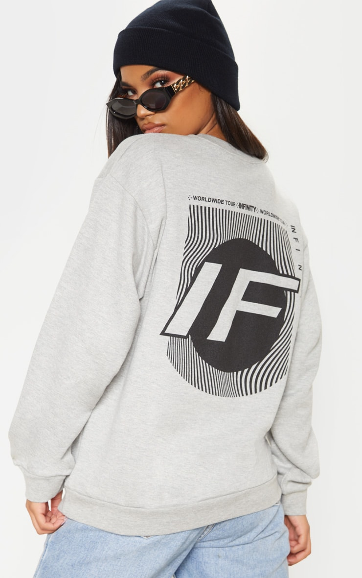 Grey Infinity Slogan Back Print Oversized Sweater 1