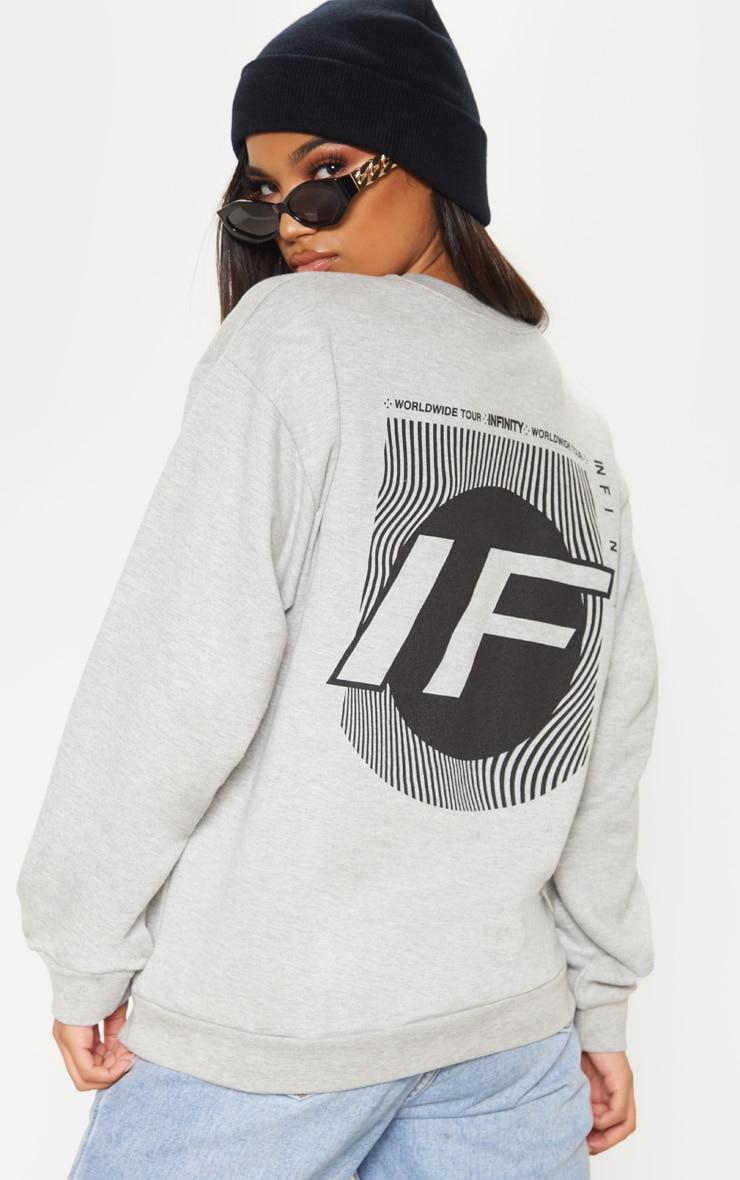 Grey Infinity Slogan Back Print Oversized Sweater 1