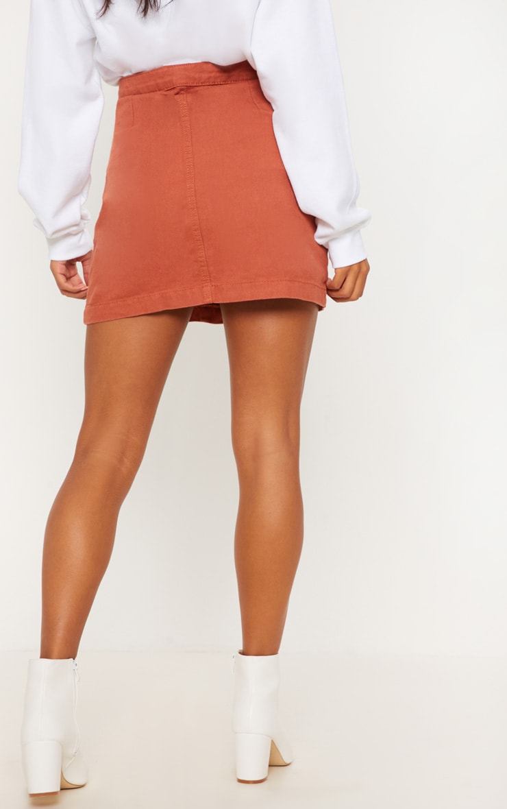 Tobacco Cammie Button Through Denim Skirt 3