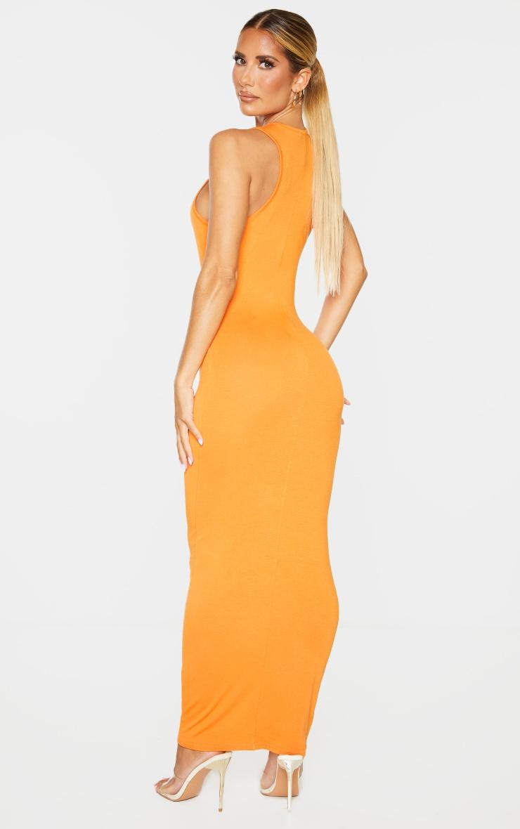 Orange Racer Neck Jersey Midaxi Dress 2
