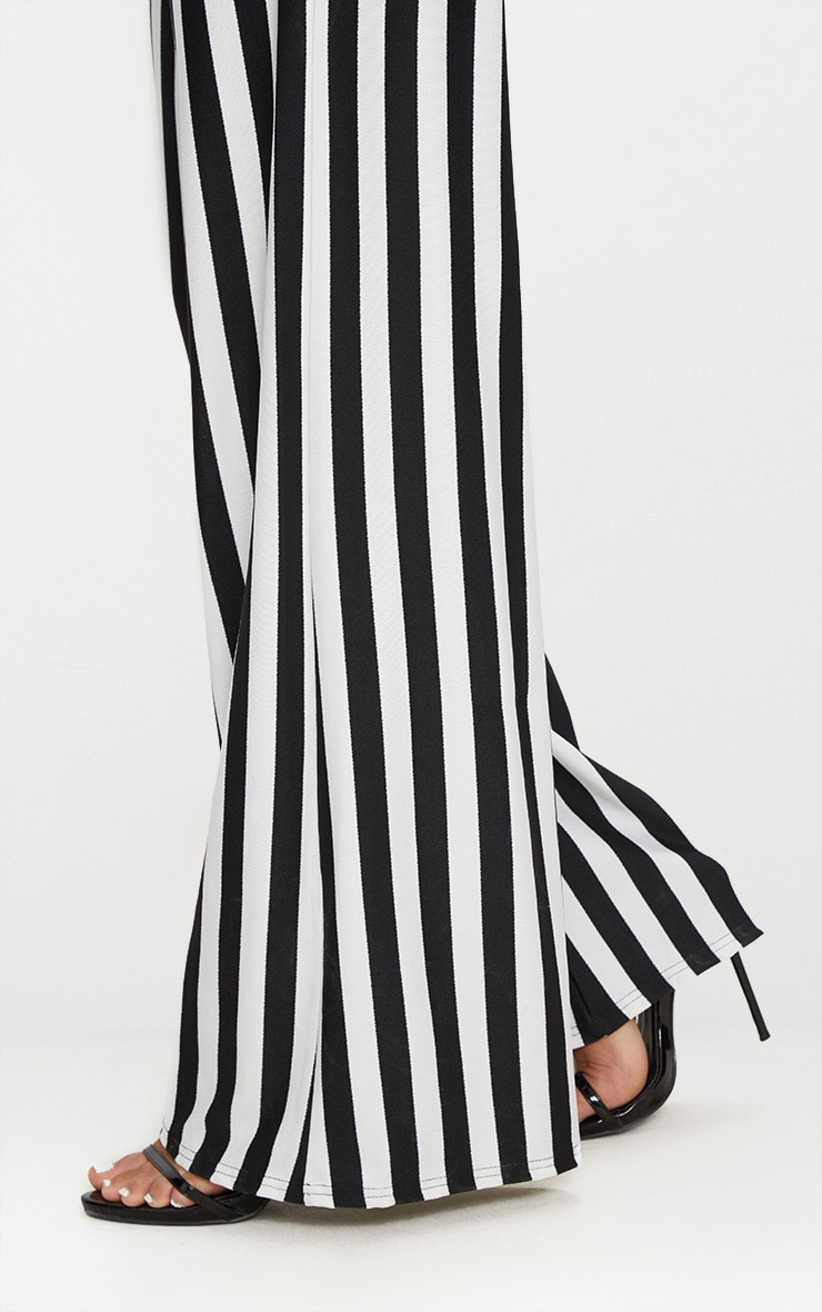 Black High Waisted Crepe Stripe Wide Leg Trouser 5