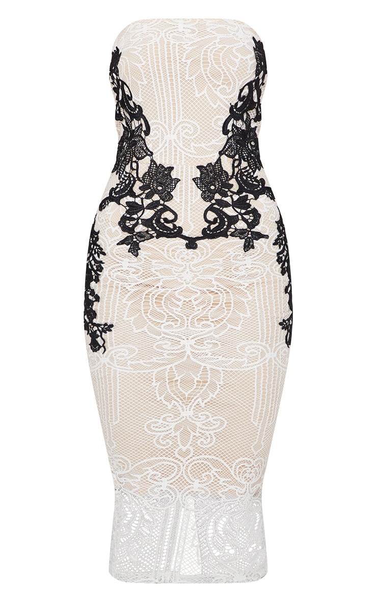 White Contrast Lace Bandeau Midi Dress 3