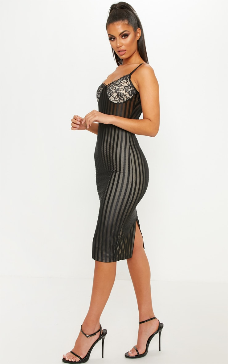 Black Lace Detail Striped Mesh Midi Dress 4