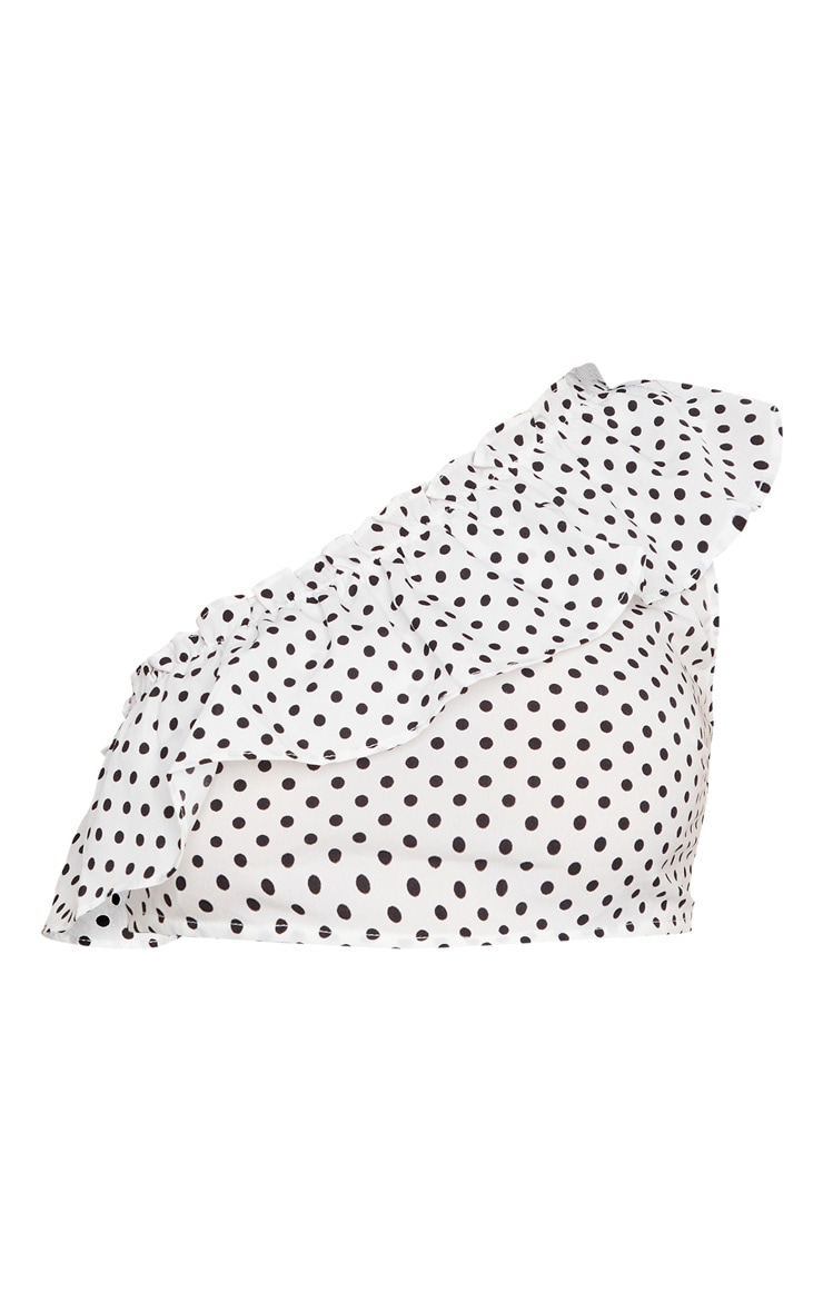 White Polka Dot Woven One Shoulder Frill Panel Crop Top 5