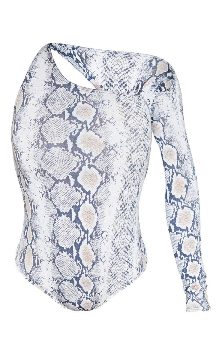 Grey Snake Jersey One Shoulder Asymmetric Printed Bodysuit 3