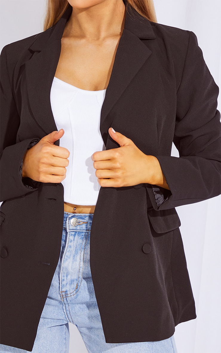 Black Double Breasted Covered Button Blazer 4