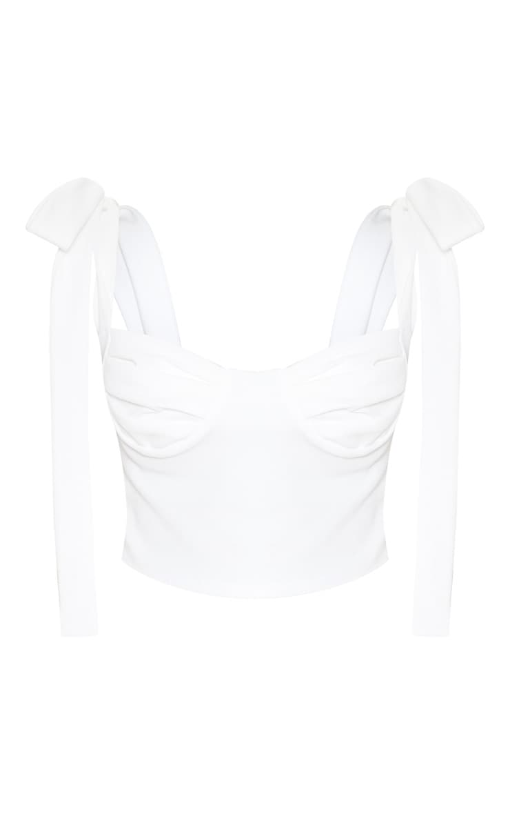 White Cup Detail Tie Crop Top 3