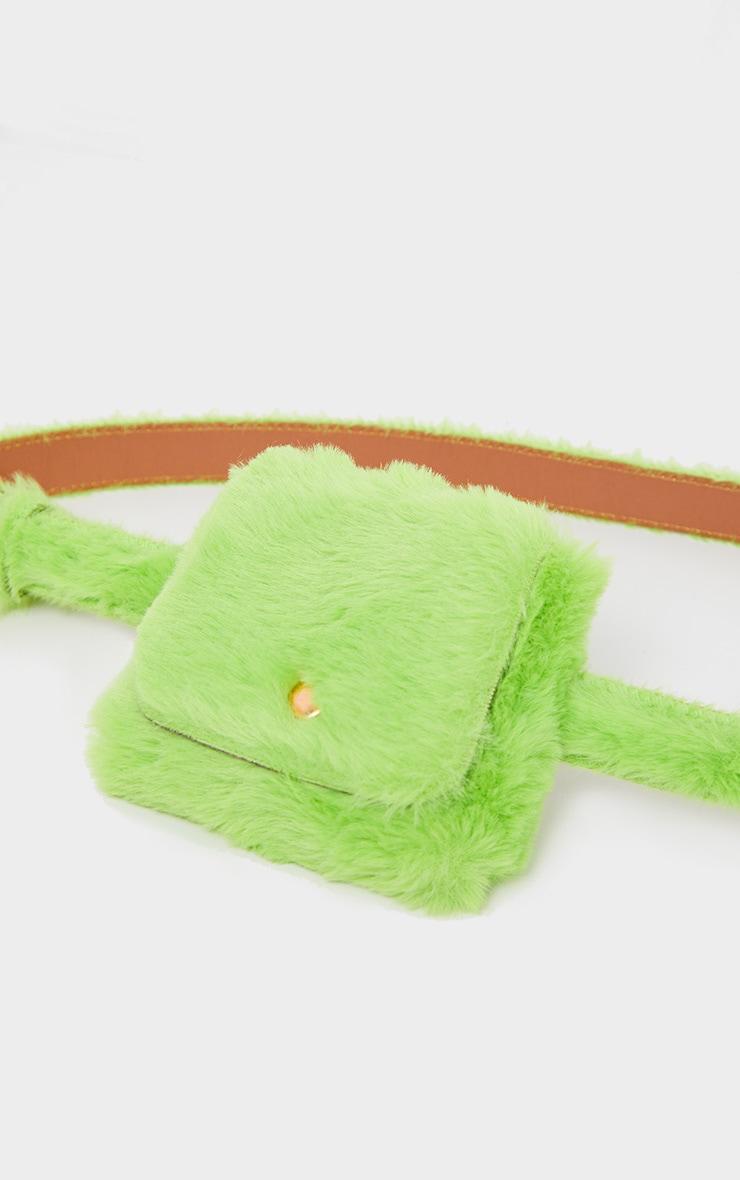 Green Faux Fur Belt Bag 3