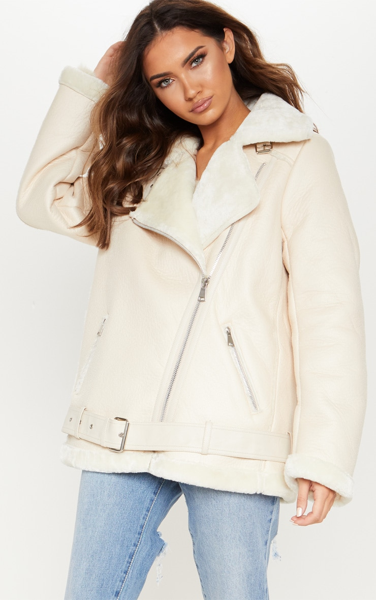 Cream PU Aviator Jacket