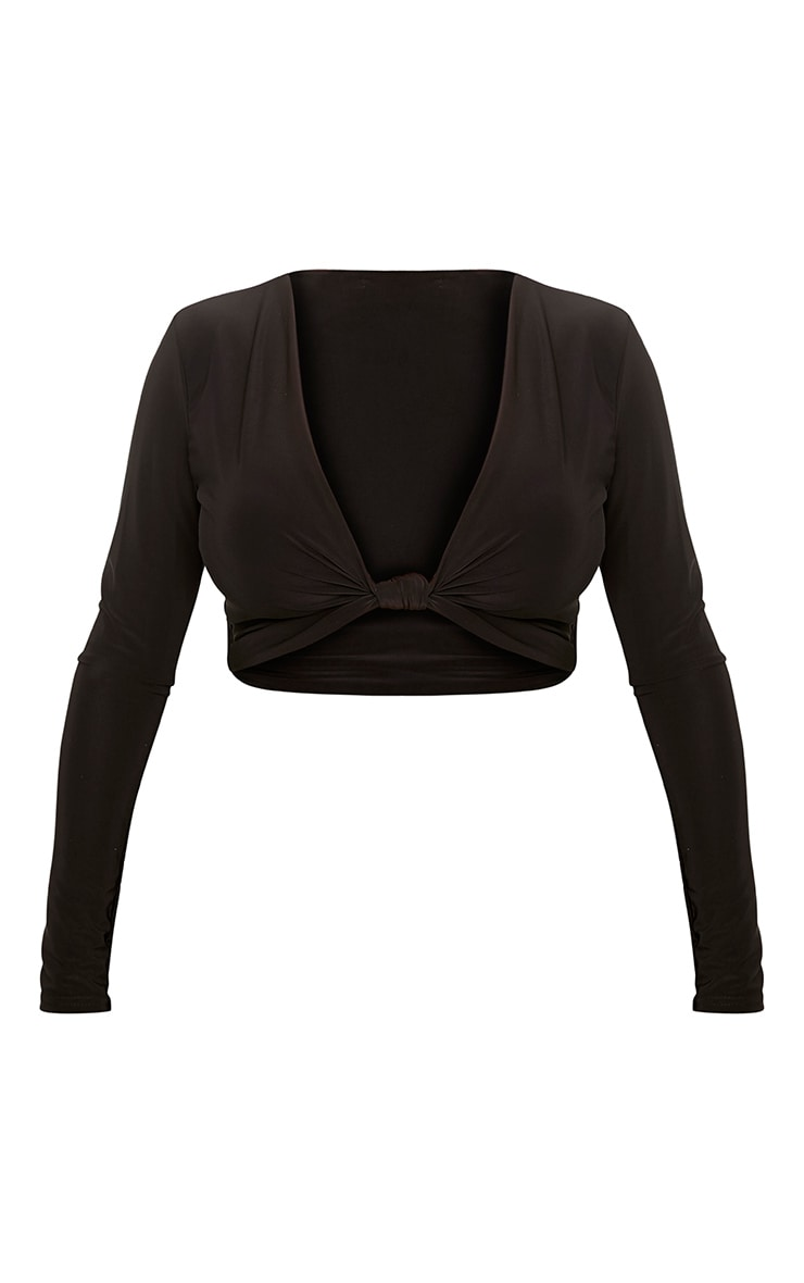Shape Kareesha Black Plunge Knot Front Crop Top 3
