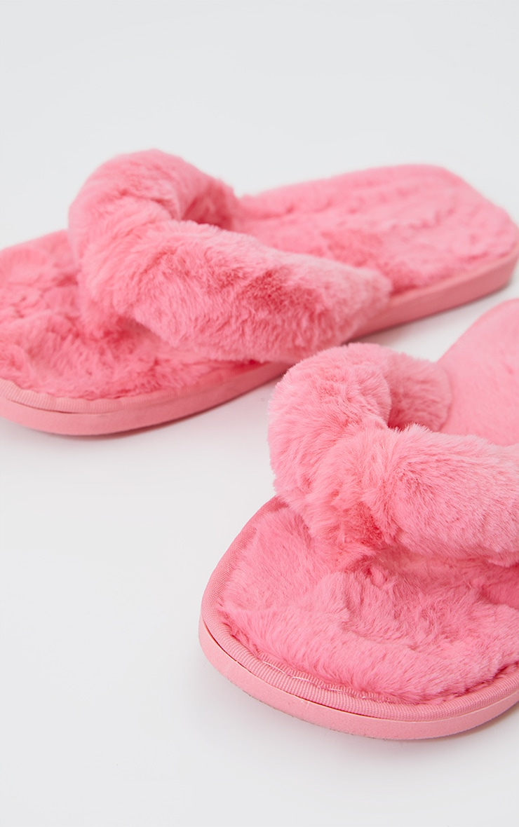 Hot Pink Fluffy Flip Flop Slippers 3