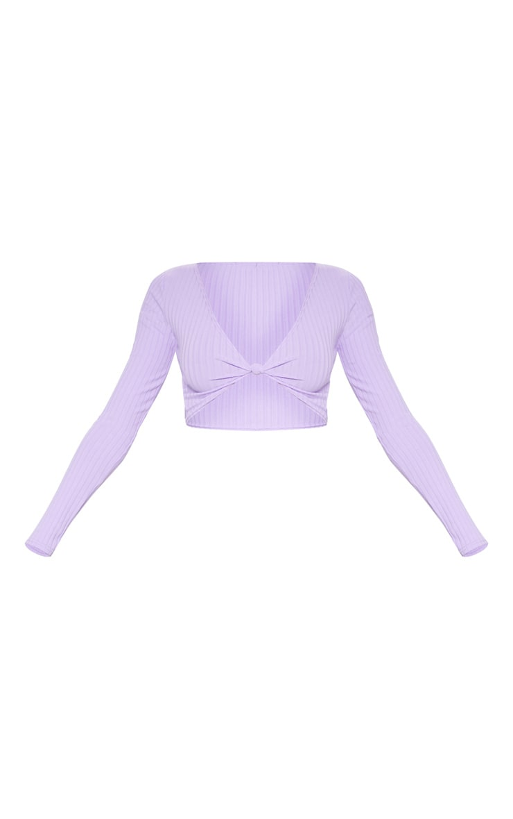 Lilac Knot Front Long Sleeve Crop Top 3