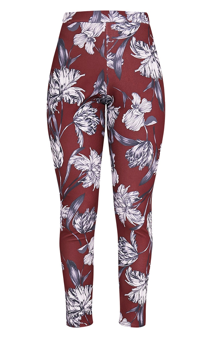 Anaya Burgundy Floral Cigarette Trousers 3