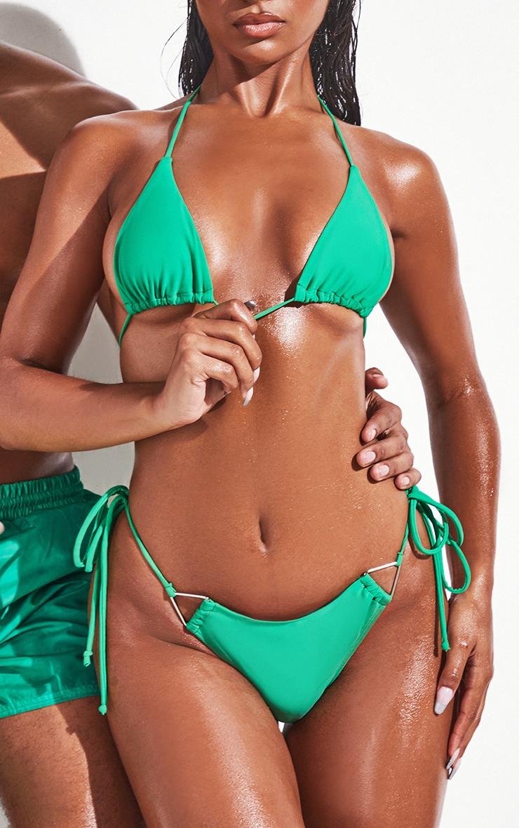 Green  Tie Side Bikini Bottoms 1