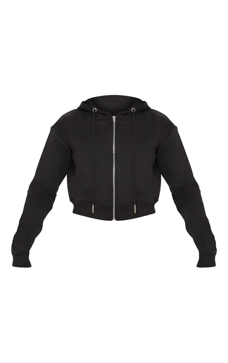 Black Crop Zip Hoodie 3
