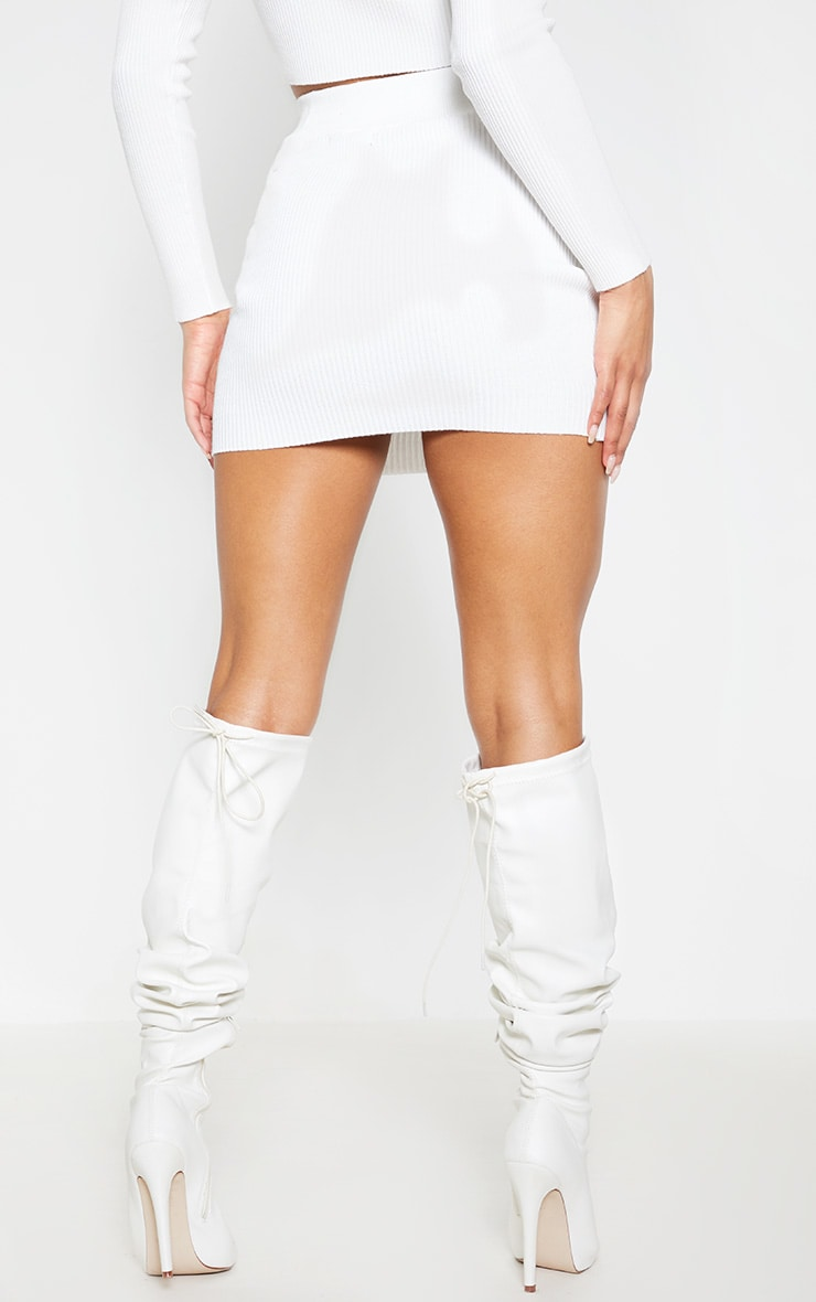 Cream Ribbed Knitted Mini Skirt 4