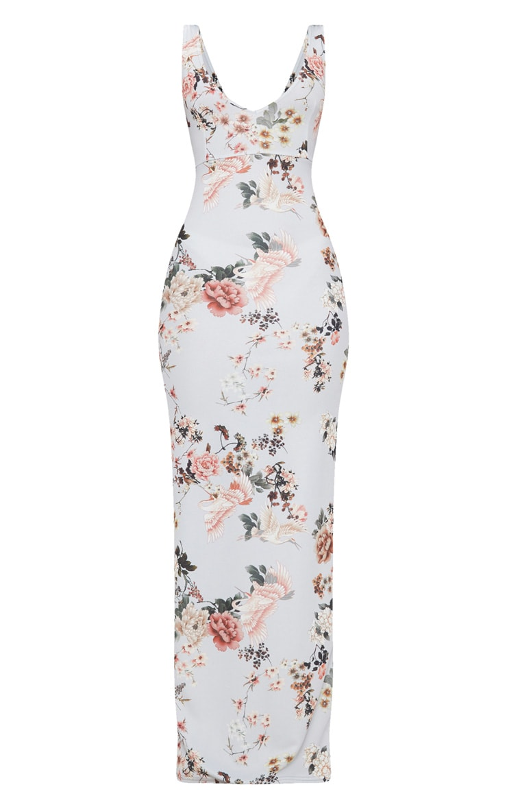 Grey Floral Print Low Back Maxi Dress 3