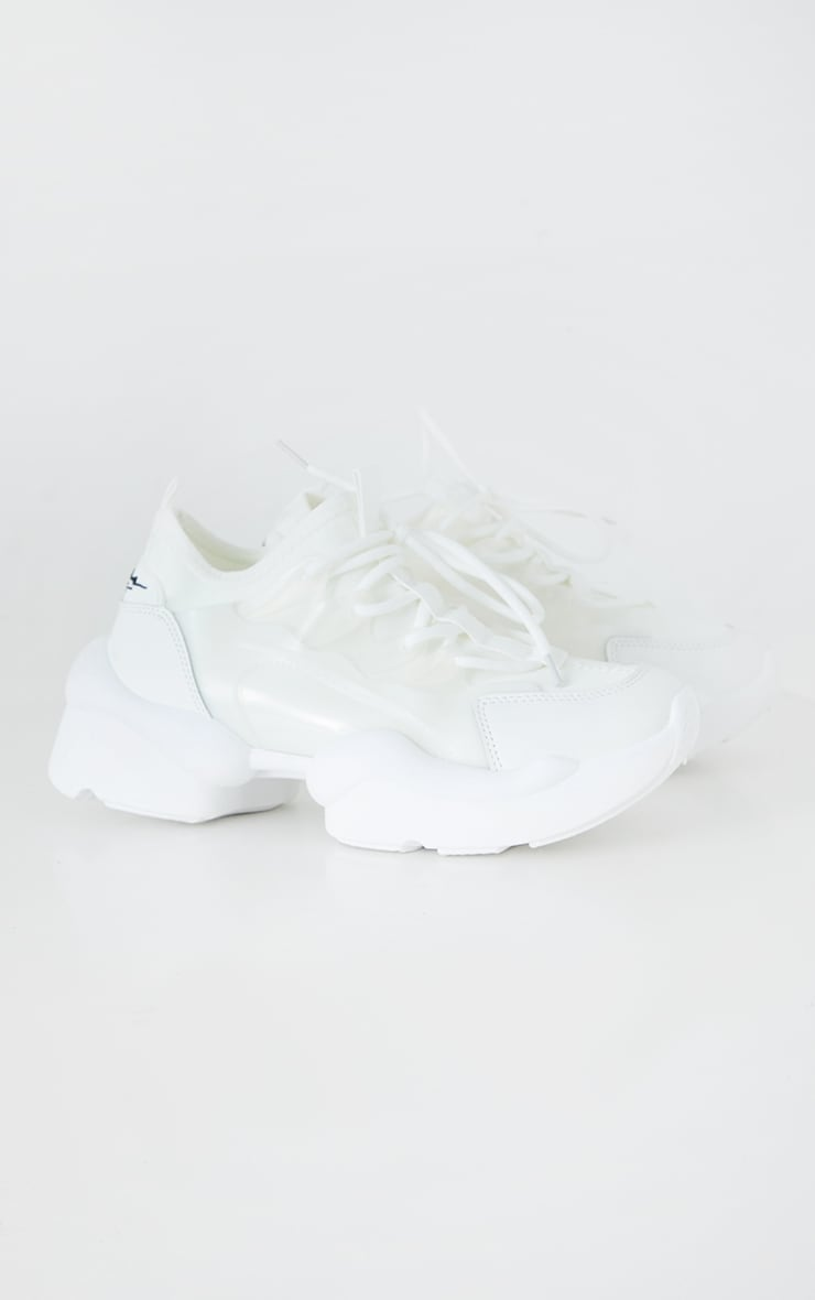 White PU Bubble Sole Lace Up Sneakers 4