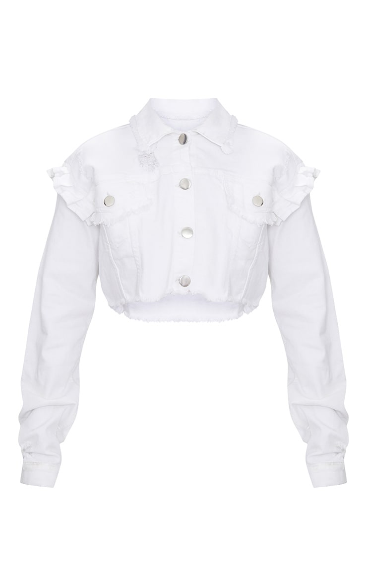 White Ruffle Cropped Denim Jacket 3
