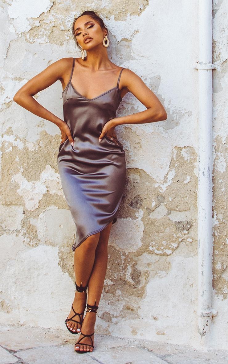 Charcoal Satin V Neck Midi Dress  1