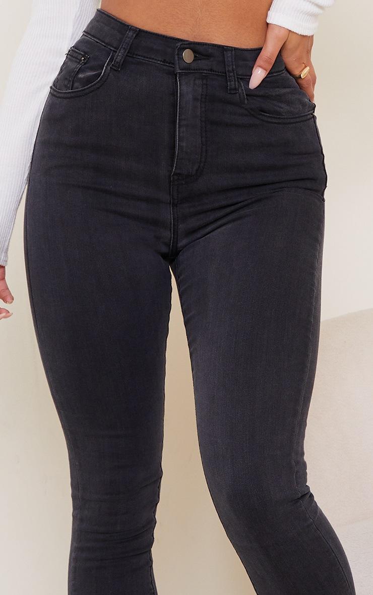 PRETTYLITTLETHING Washed Black 5 Pocket Skinny Jean 4