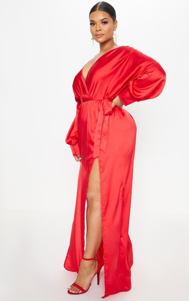 Plus Red Kimono Maxi Dress 3
