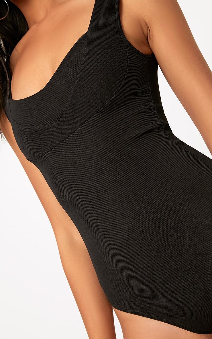 Black Structured Detail Thong Bodysuit 6