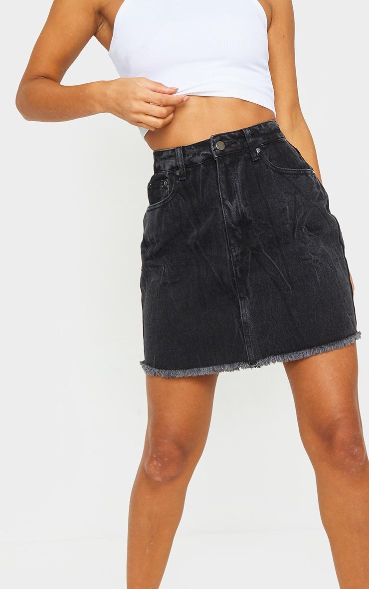 Washed Black Denim Skirt 5