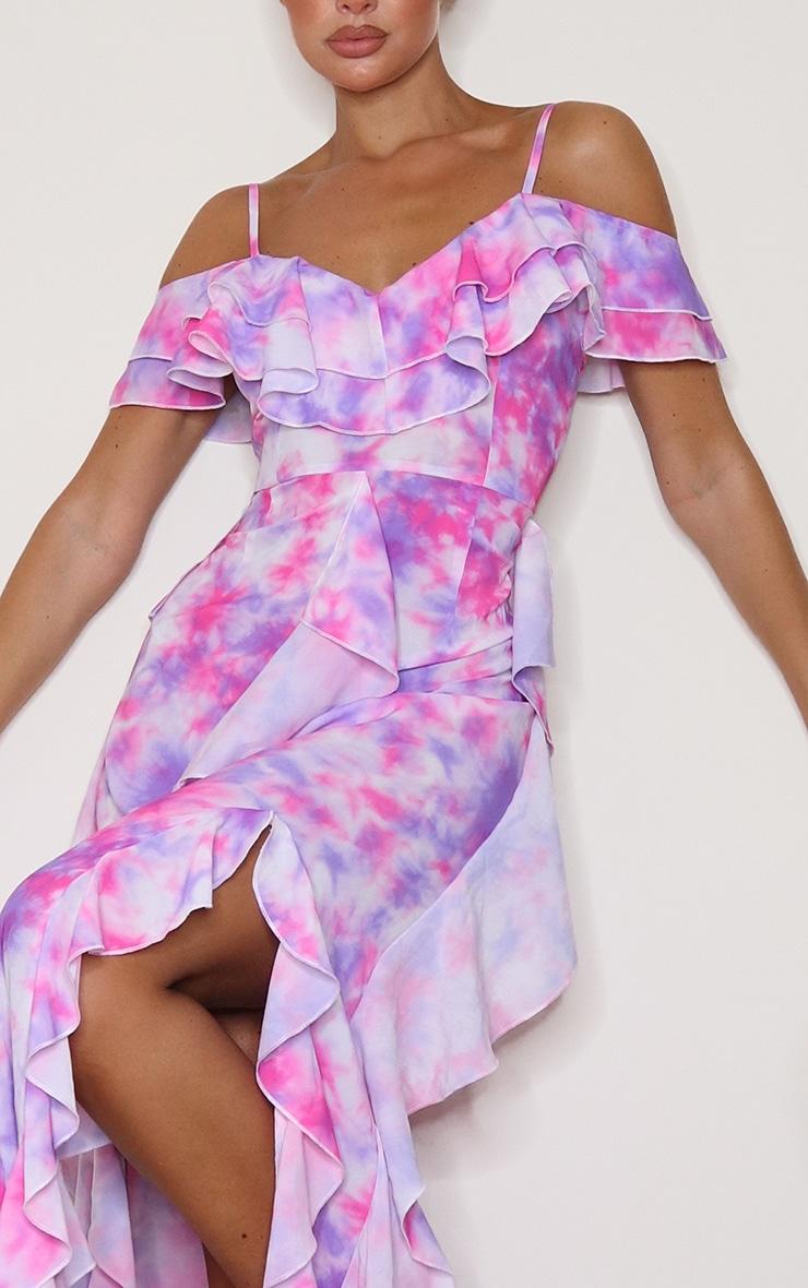 Pink Tie Dye Cold Shoulder Ruffle Detail Maxi Dress 4