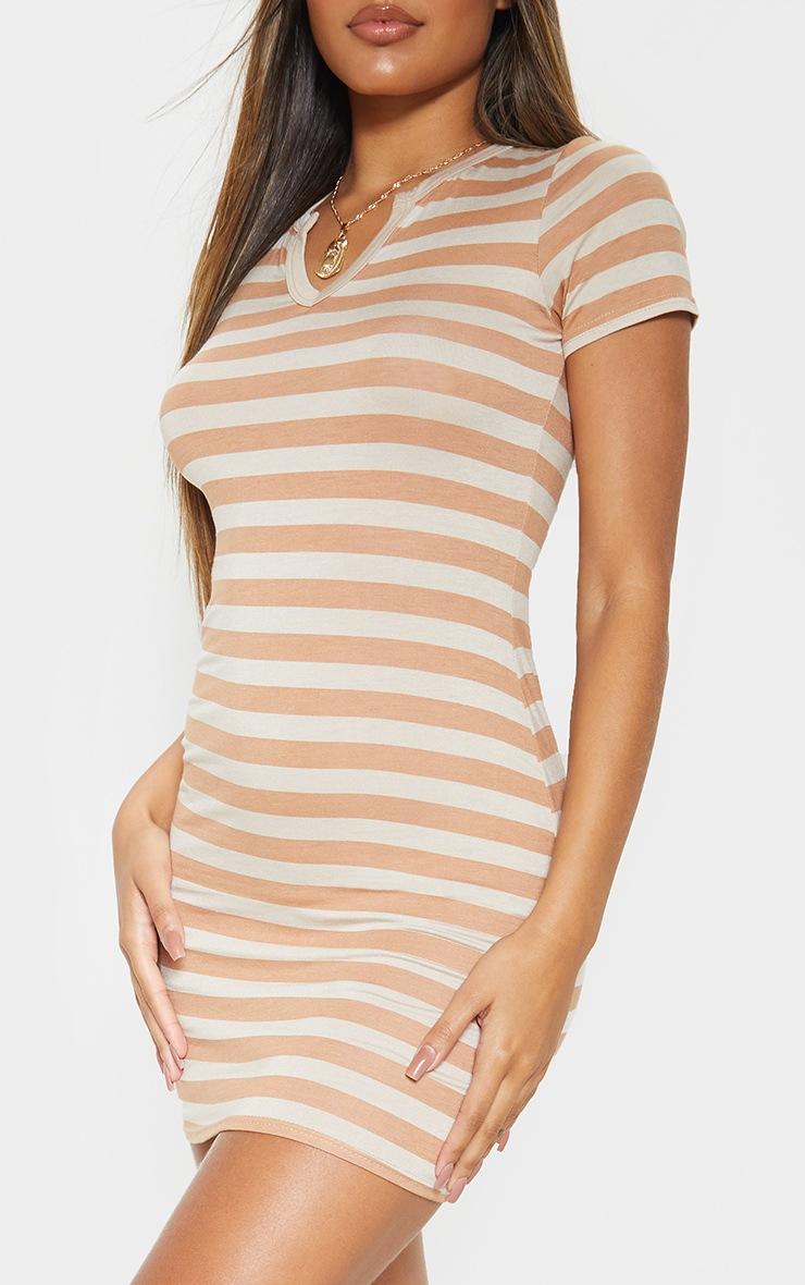 Nude Stripe Cut Neck Bodycon Dress  5