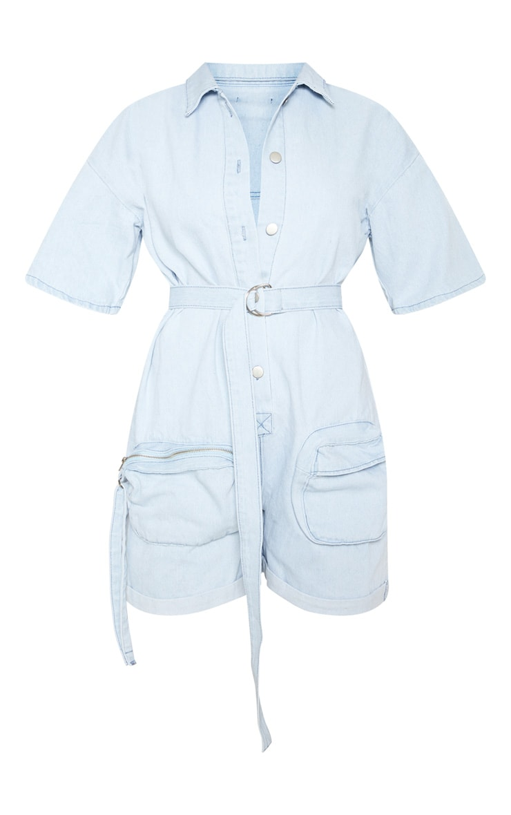 Bleach Wash Romper With Pencil Pockets  3