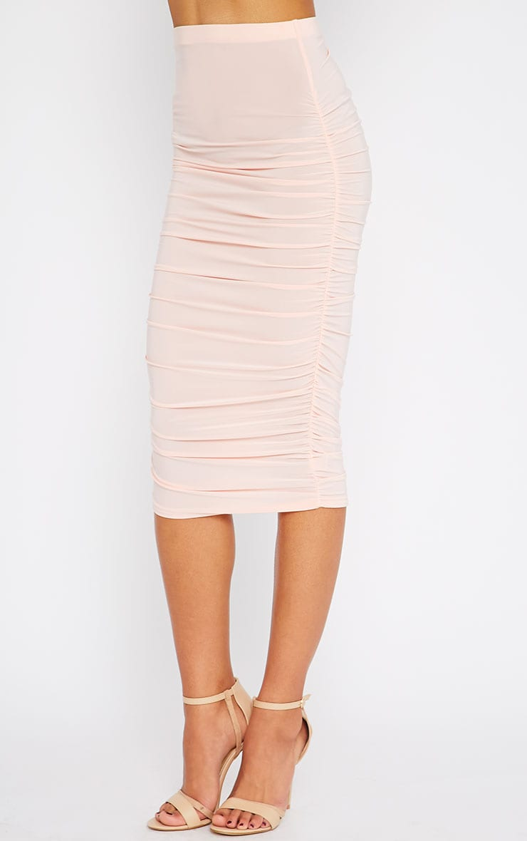 Saylor Pink Slinky Gathered Midi Skirt 3