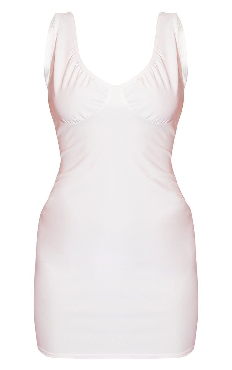 White Bust Detail Sleeveless Bodycon Dress 5