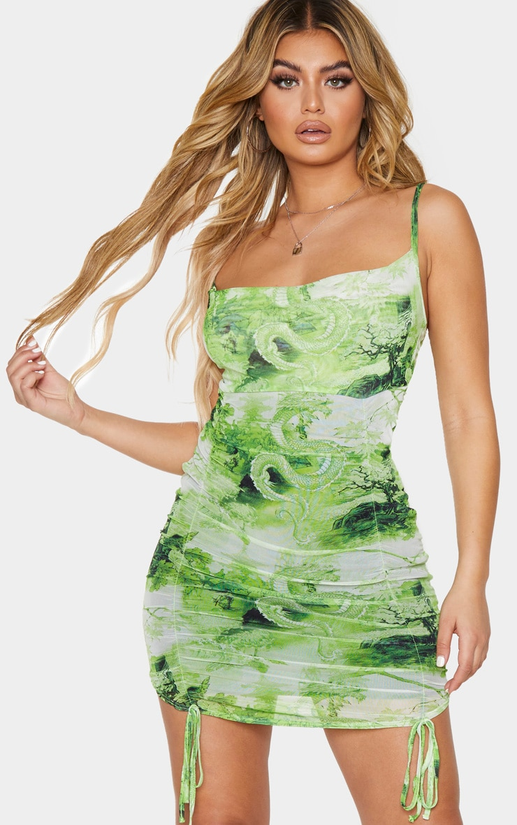 Lime Dragon Print Strappy Ruched Tie Hem Bodycon Dress