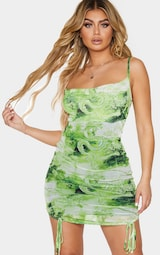 Lime Dragon Print Strappy Ruched Tie Hem Bodycon Dress 1