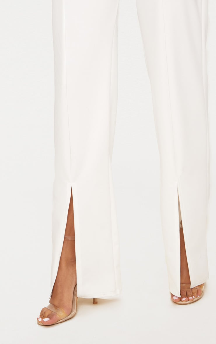 White Split Hem Straight Leg Trousers 5