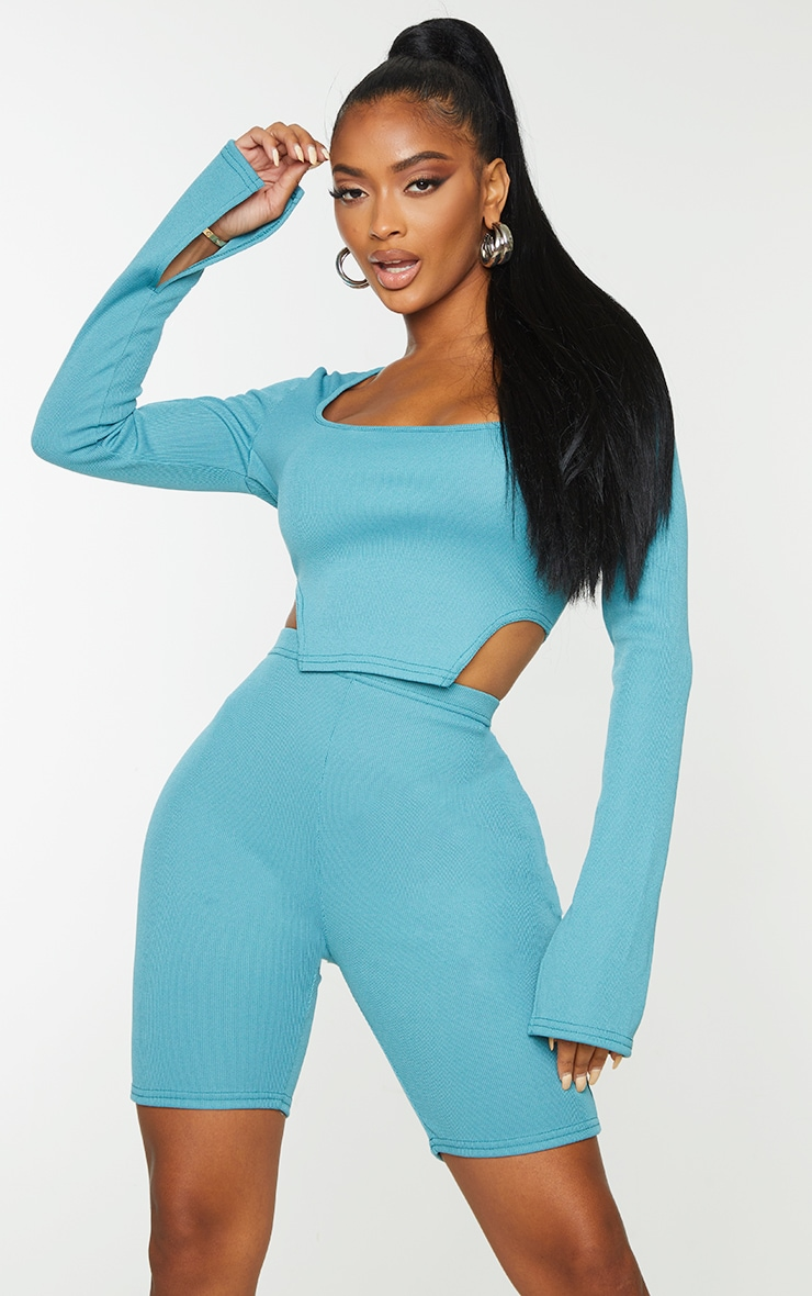 Shape Teal Rib Square Neck Cut Out Side Crop Top