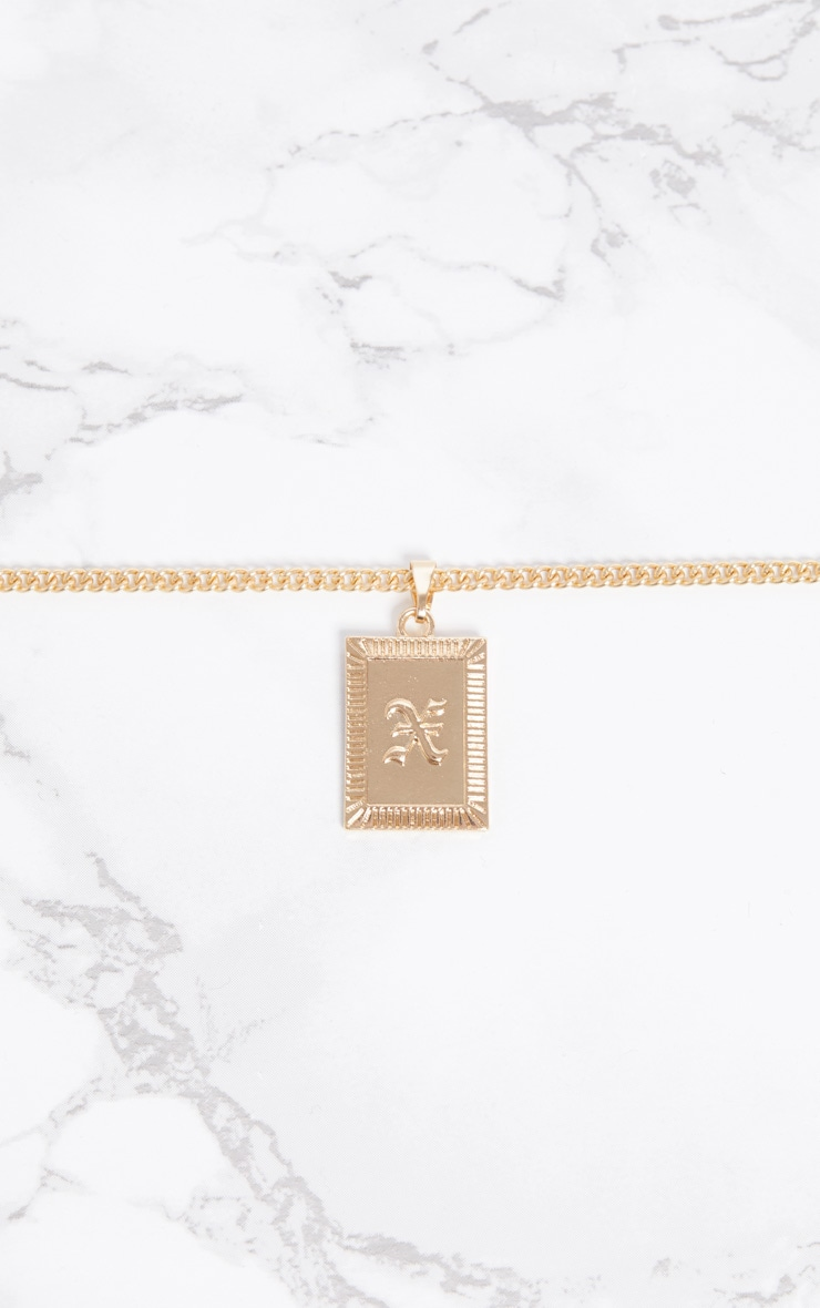 Gold Square Letter X Pendant Necklace 3