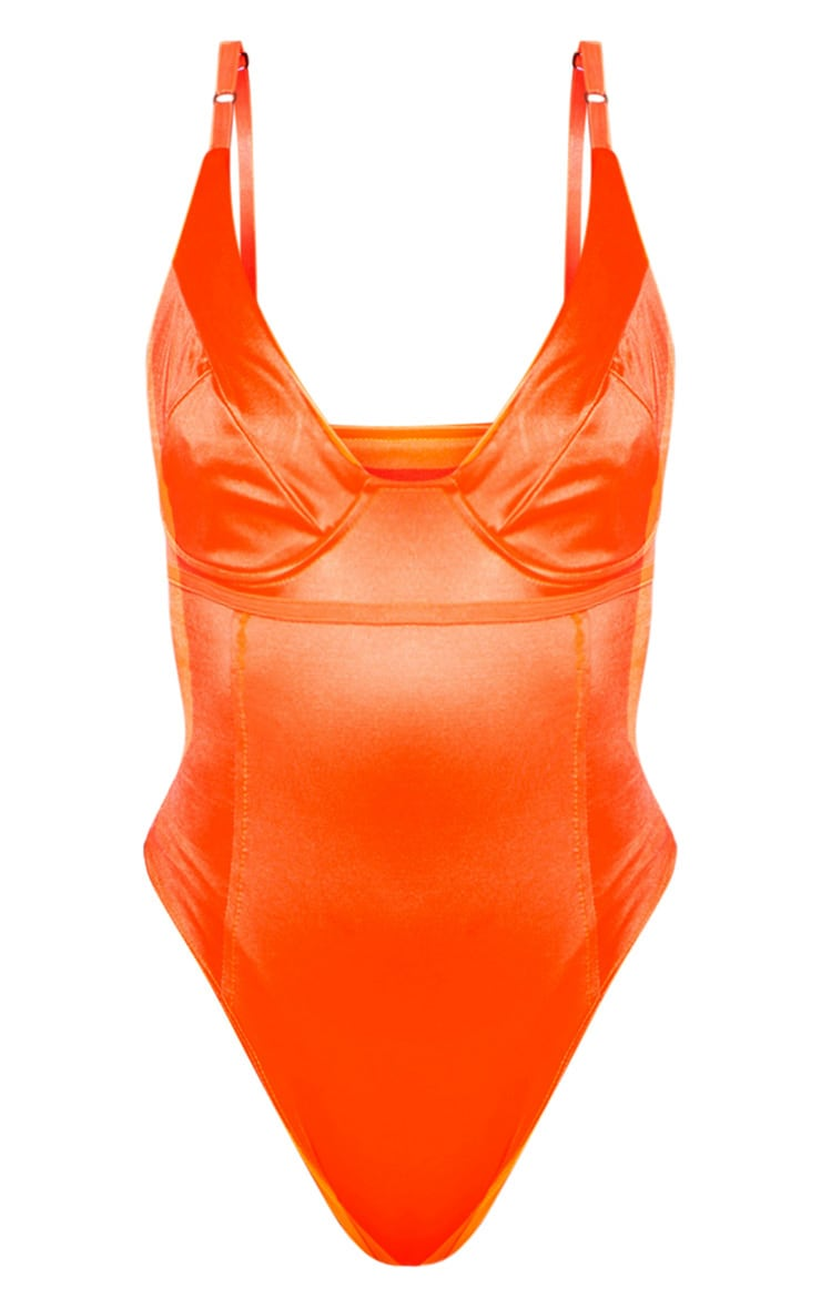 Orange Stretch Satin Cup Bodysuit 3