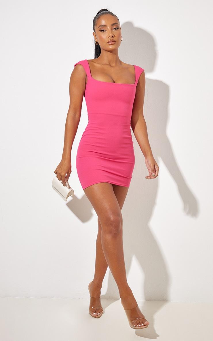 Hot Pink Sleeveless Square Neck Bodycon Dress 4