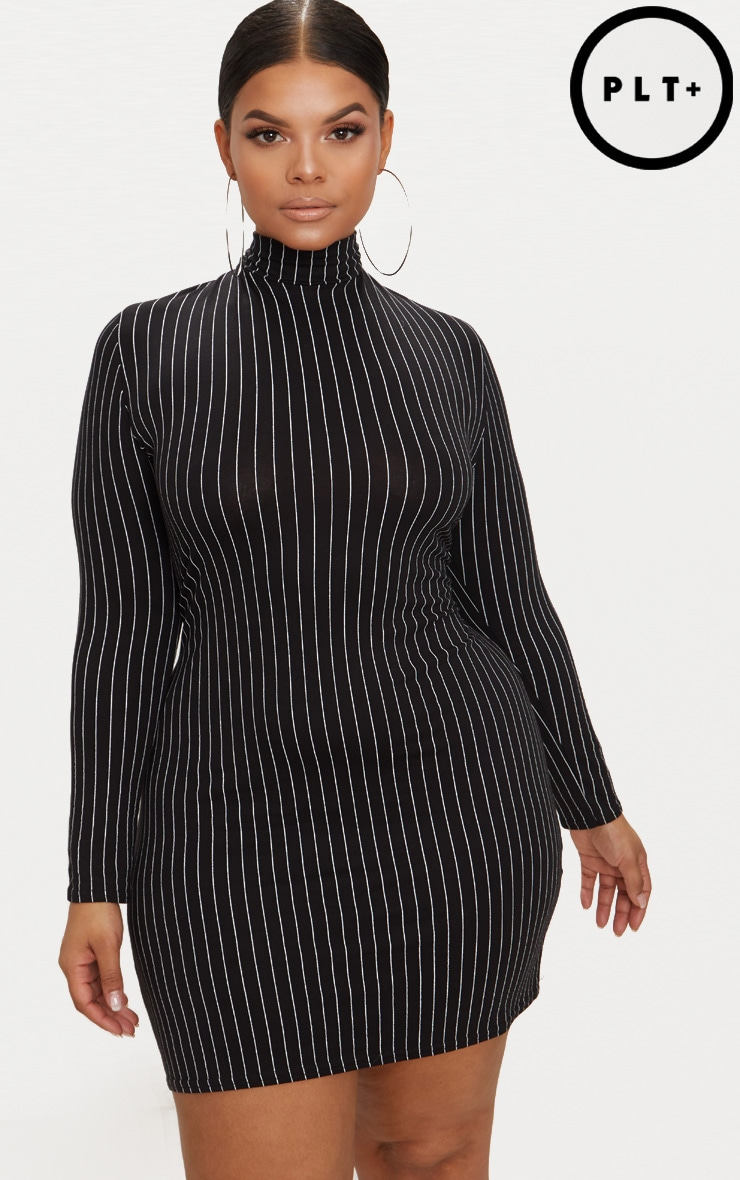 Plus Black Pinstripe High Neck Bodycon Dress