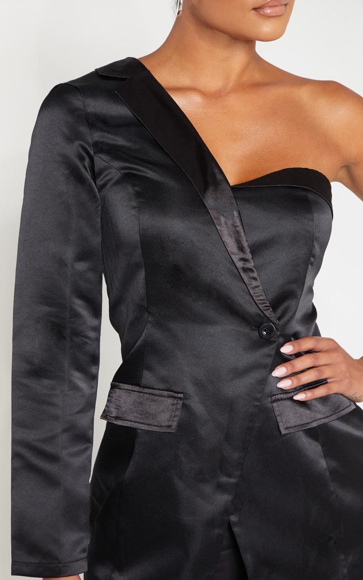 Black One Shoulder Longline Tux Shirt 5