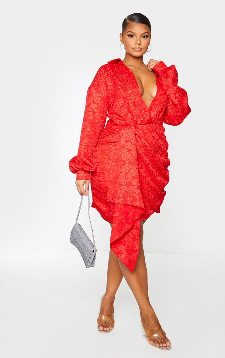Plus Red Textured Floral Wrap Dress 3